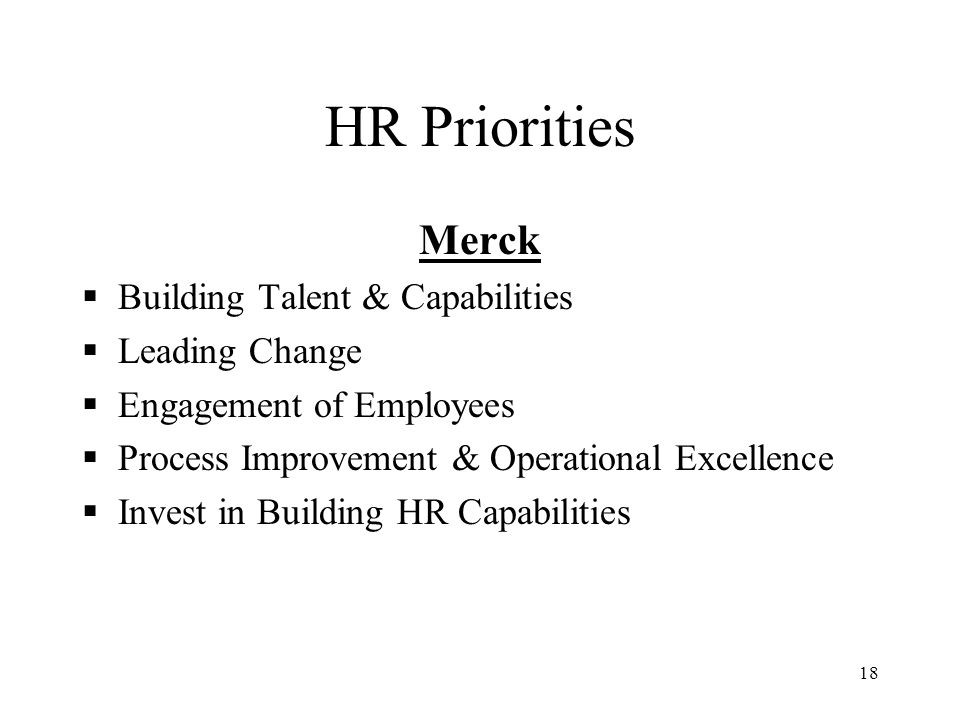 HR Priorities Merck Building Talent & Capabilities Leading Change