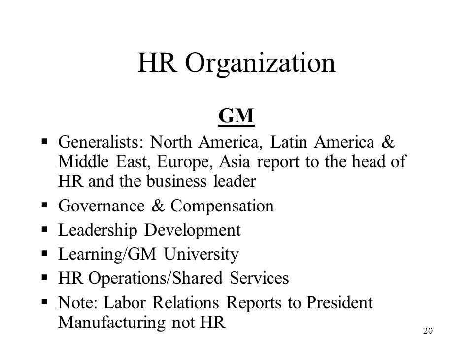 HR Organization GM. Generalists: North America, Latin America & Middle East, Europe, Asia report to the head of HR and the business leader.