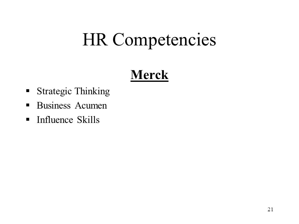 HR Competencies Merck Strategic Thinking Business Acumen