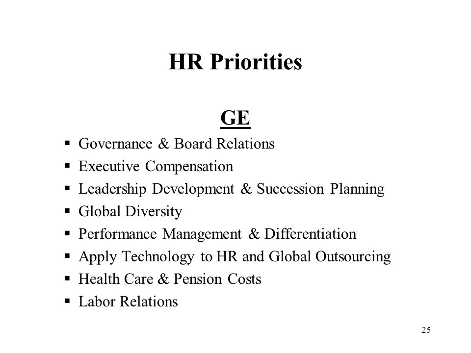 HR Priorities GE Governance & Board Relations Executive Compensation