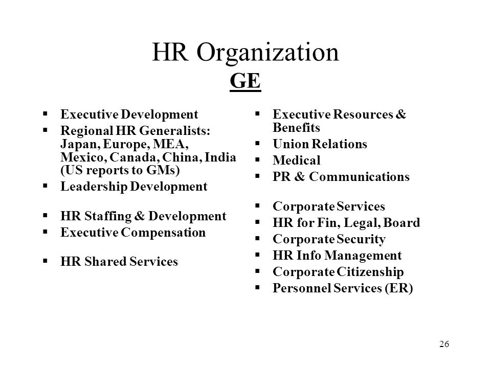 HR Organization GE Executive Development