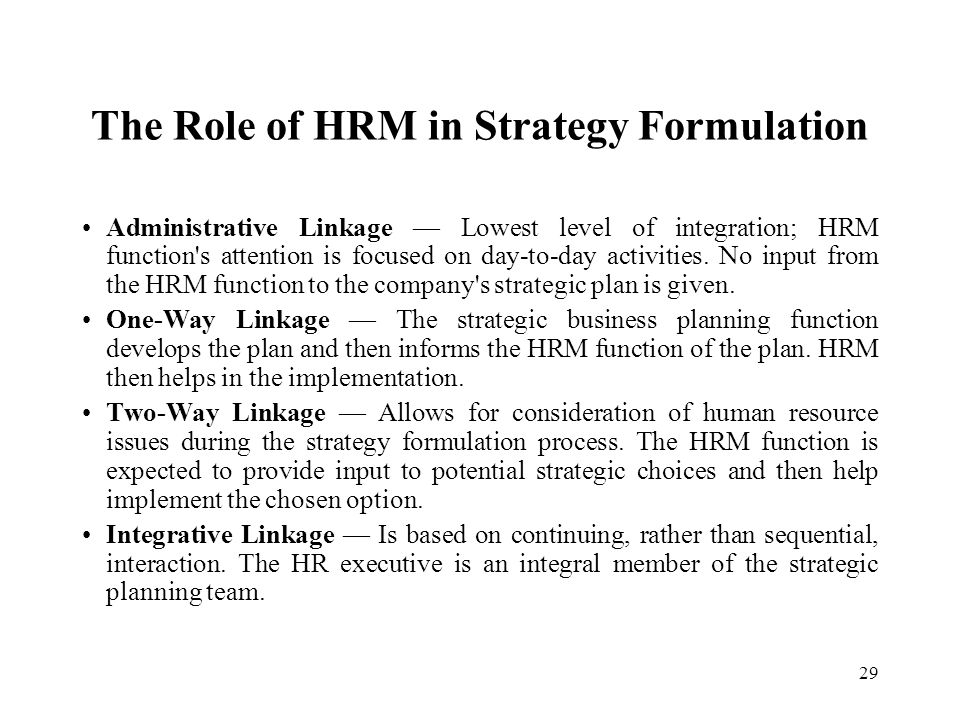 The Role of HRM in Strategy Formulation