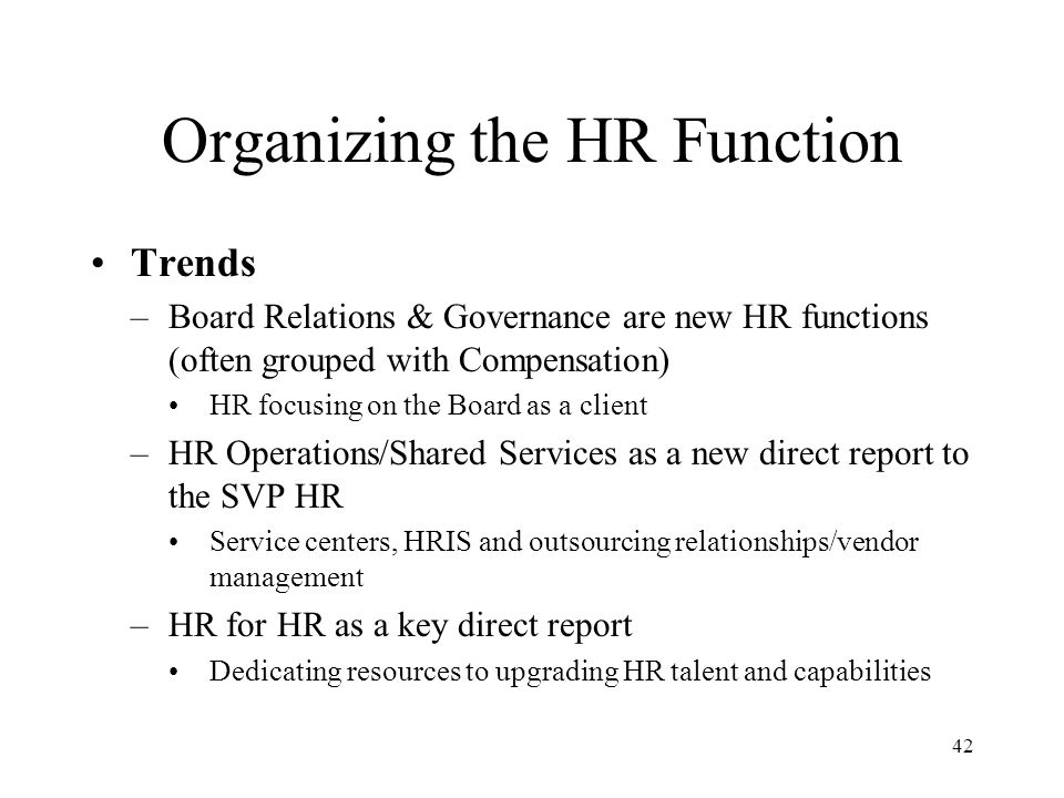 Organizing the HR Function