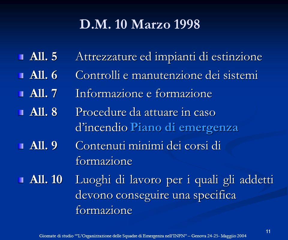 D.M. 10 Marzo 1998 All. 5 Attrezzature ed impianti di estinzione