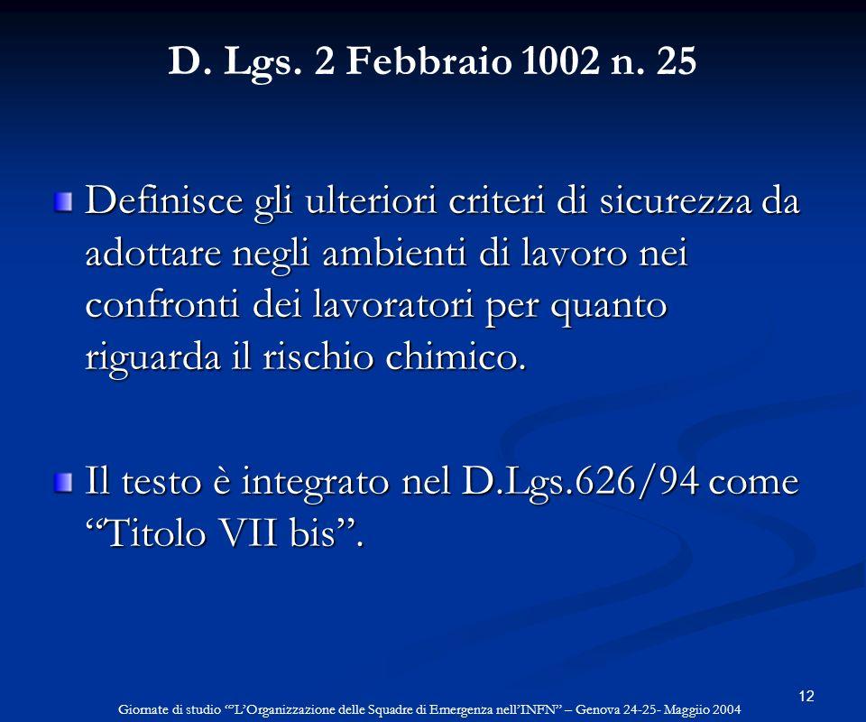 Il testo è integrato nel D.Lgs.626/94 come Titolo VII bis .