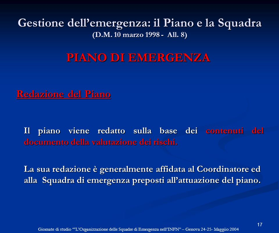 PIANO DI EMERGENZA Redazione del Piano