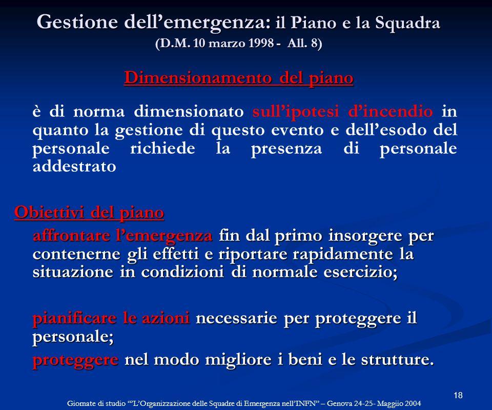 Gestione dell'emergenza: il Piano e la Squadra (D. M
