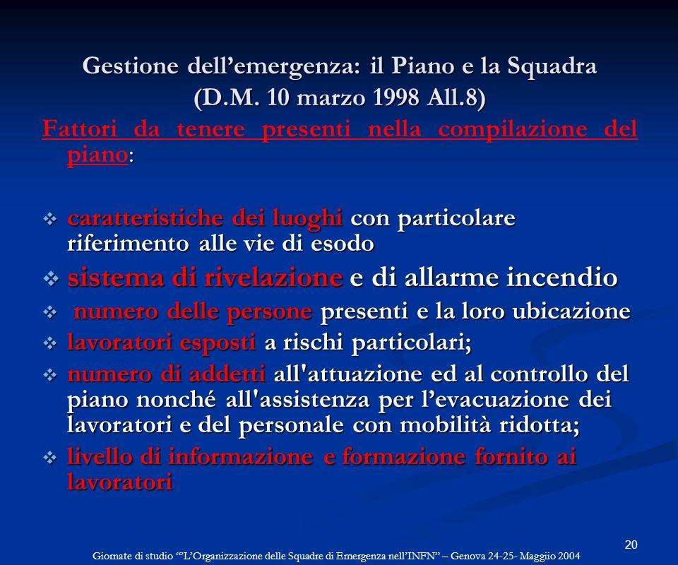 Gestione dell'emergenza: il Piano e la Squadra