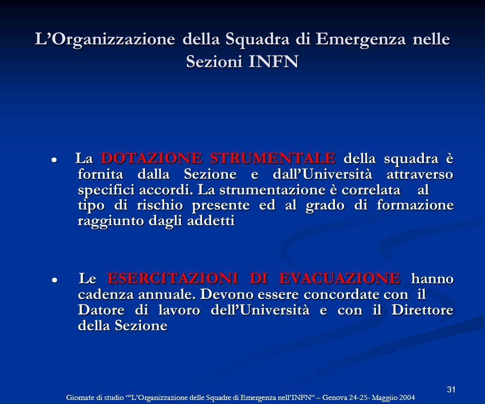 L'Organizzazione della Squadra di Emergenza nelle Sezioni INFN