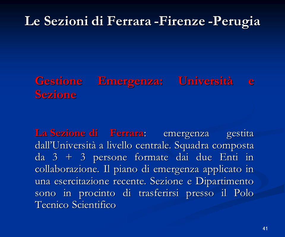 Le Sezioni di Ferrara -Firenze -Perugia
