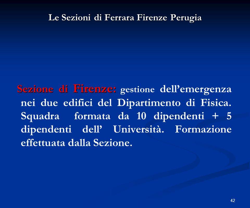 Le Sezioni di Ferrara Firenze Perugia