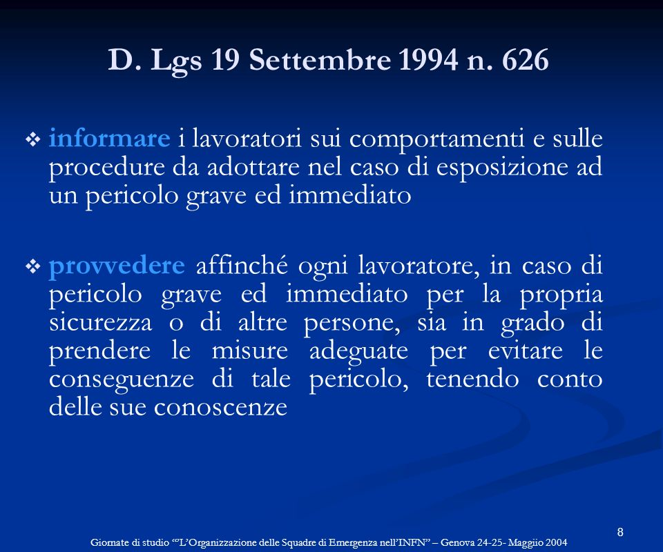 D. Lgs 19 Settembre 1994 n. 626