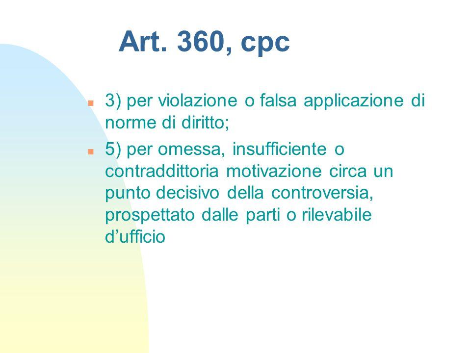 Art. 360, cpc 3) per violazione o falsa applicazione di norme di diritto;