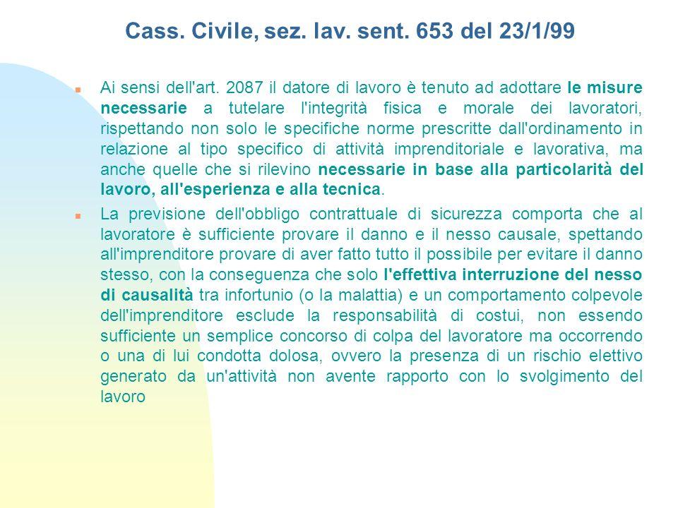 Cass. Civile, sez. lav. sent. 653 del 23/1/99