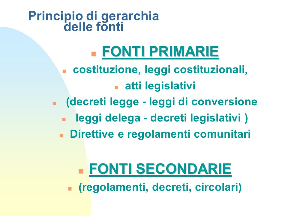 Principio di gerarchia delle fonti