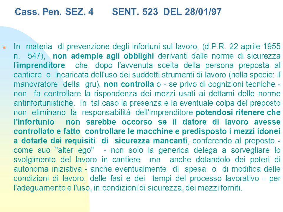 Cass. Pen. SEZ. 4 SENT. 523 DEL 28/01/97