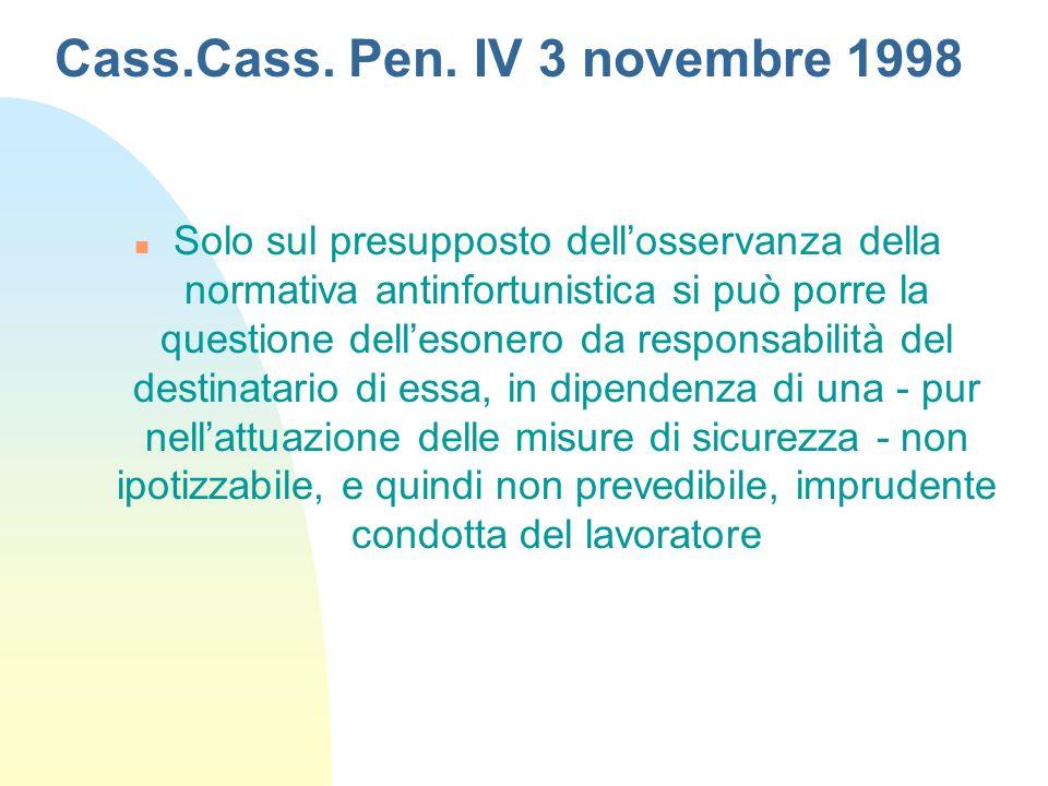 Cass.Cass. Pen. IV 3 novembre 1998