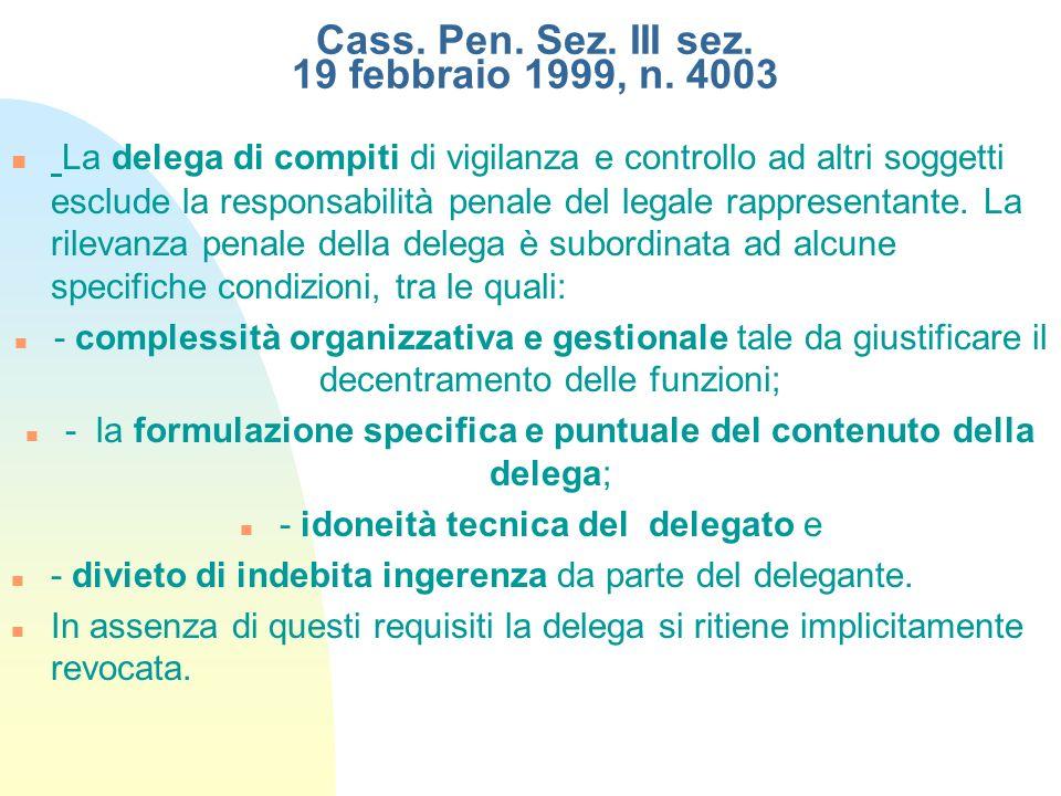 Cass. Pen. Sez. III sez. 19 febbraio 1999, n. 4003