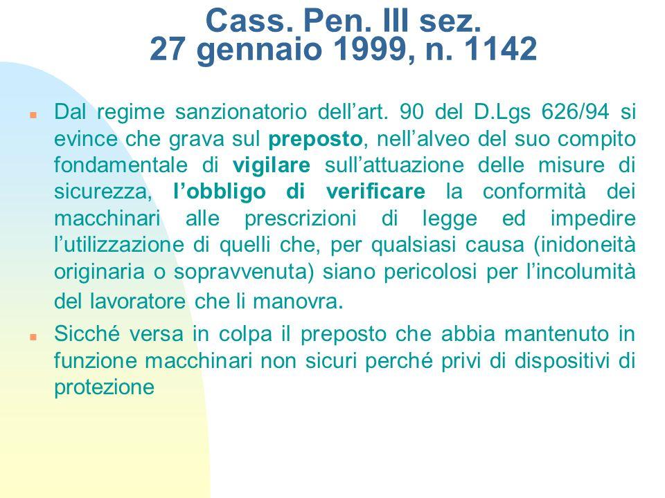 Cass. Pen. III sez. 27 gennaio 1999, n. 1142