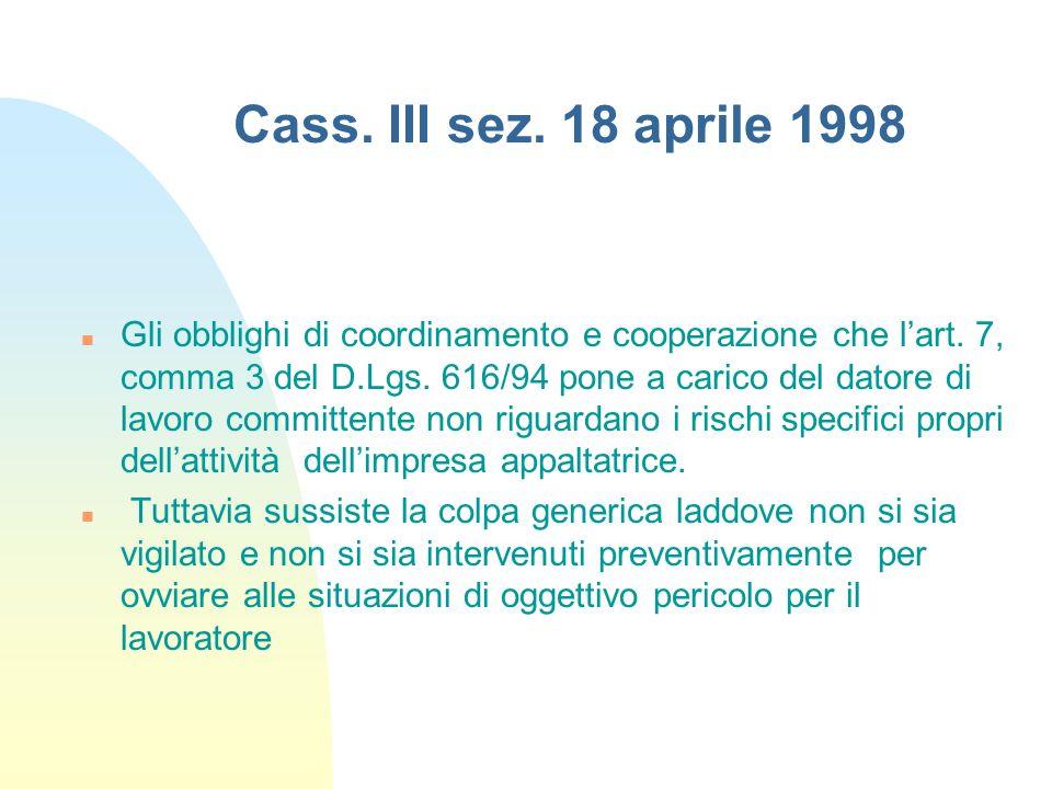 Cass. III sez. 18 aprile 1998