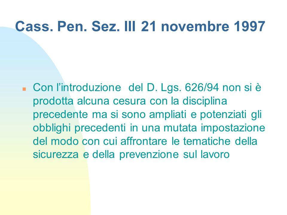 Cass. Pen. Sez. III 21 novembre 1997