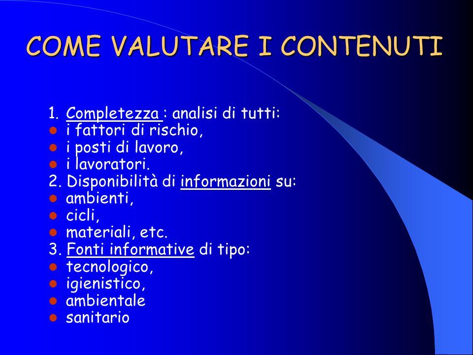 COME VALUTARE I CONTENUTI