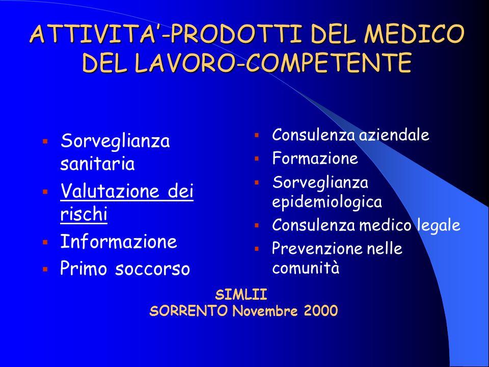 ATTIVITA'-PRODOTTI DEL MEDICO DEL LAVORO-COMPETENTE
