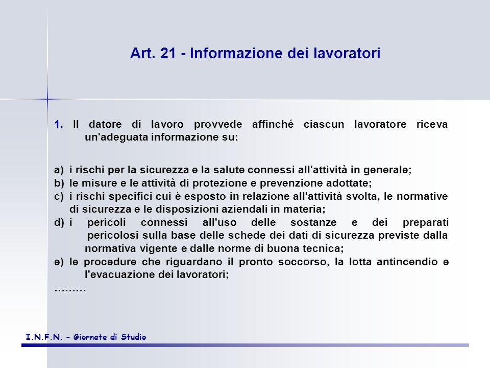 Art. 21 - Informazione dei lavoratori