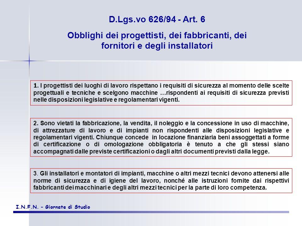 D.Lgs.vo 626/94 - Art. 6 Obblighi dei progettisti, dei fabbricanti, dei fornitori e degli installatori.