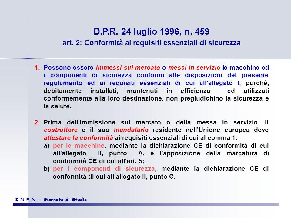 art. 2: Conformità ai requisiti essenziali di sicurezza