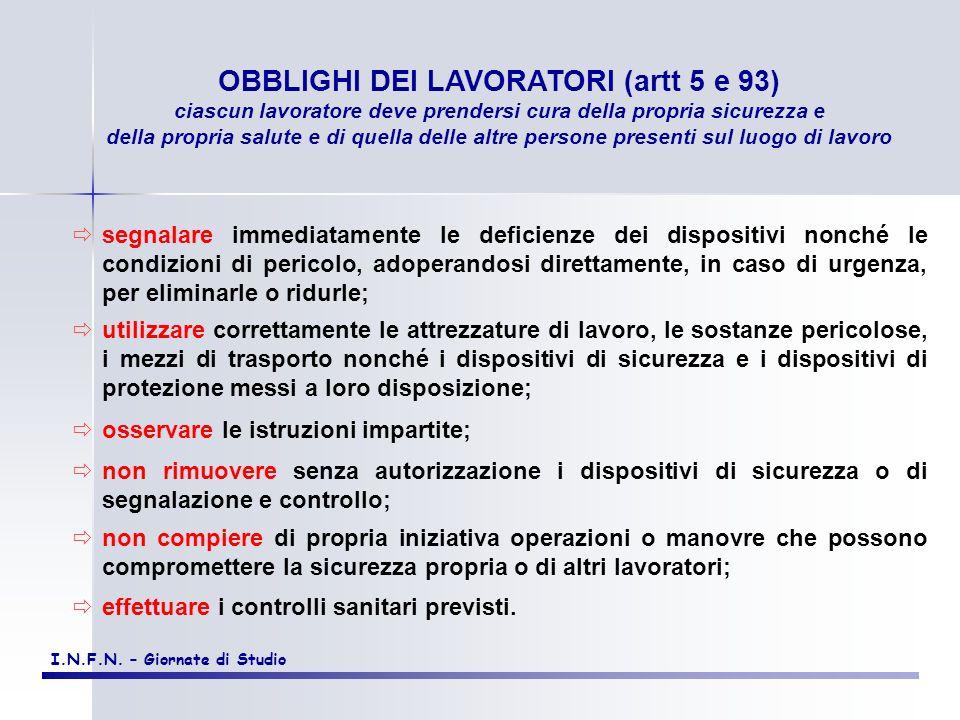 OBBLIGHI DEI LAVORATORI (artt 5 e 93)