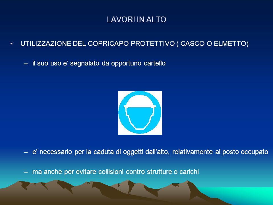 LAVORI IN ALTO UTILIZZAZIONE DEL COPRICAPO PROTETTIVO ( CASCO O ELMETTO) il suo uso e' segnalato da opportuno cartello.