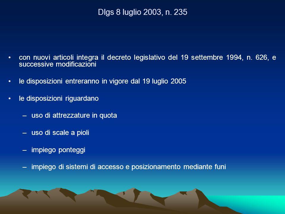 Dlgs 8 luglio 2003, n. 235 con nuovi articoli integra il decreto legislativo del 19 settembre 1994, n. 626, e successive modificazioni.