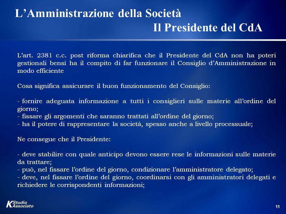 L'Amministrazione della Società Il Presidente del CdA