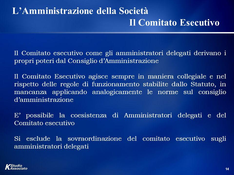 L'Amministrazione della Società Il Comitato Esecutivo