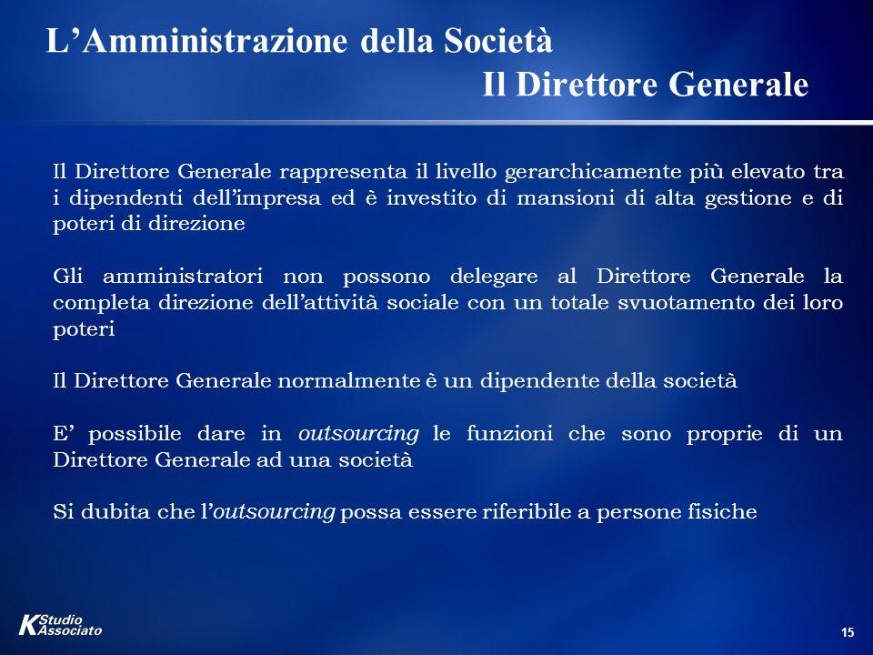 L'Amministrazione della Società Il Direttore Generale