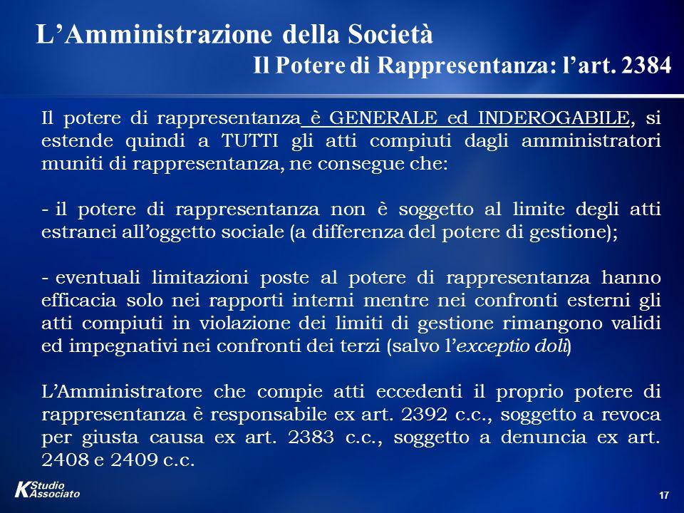 L'Amministrazione della Società. Il Potere di Rappresentanza: l'art