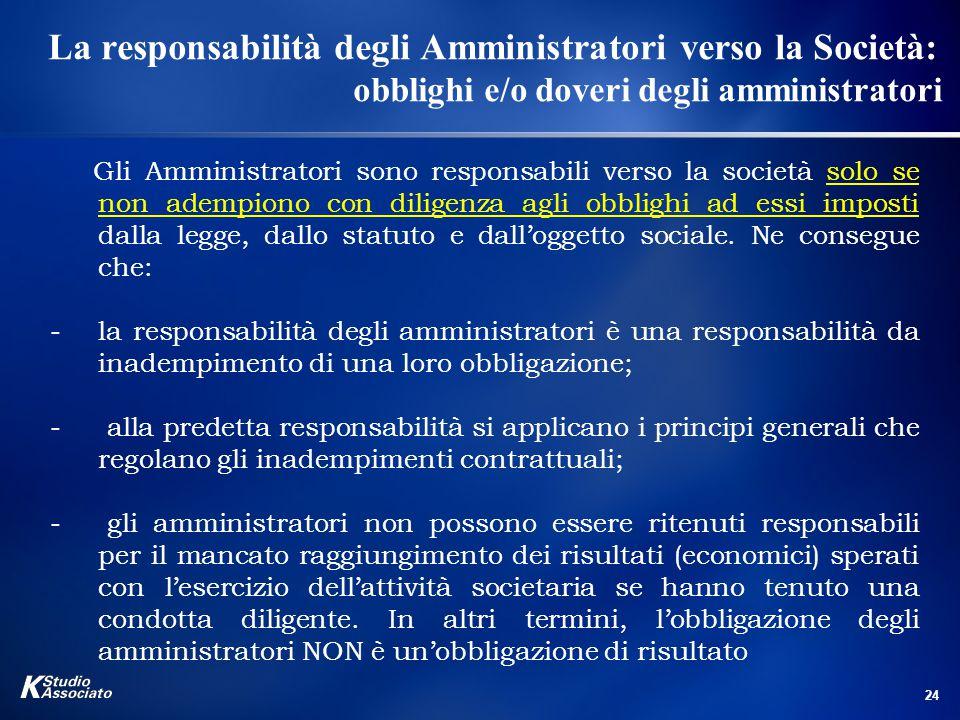 La responsabilità degli Amministratori verso la Società: