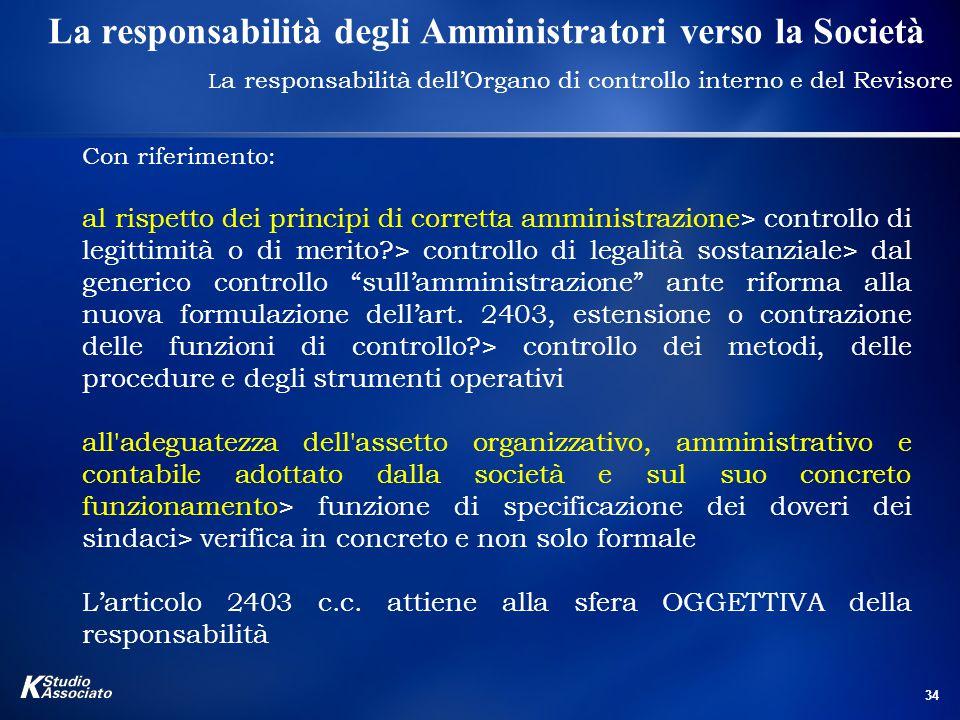 La responsabilità degli Amministratori verso la Società
