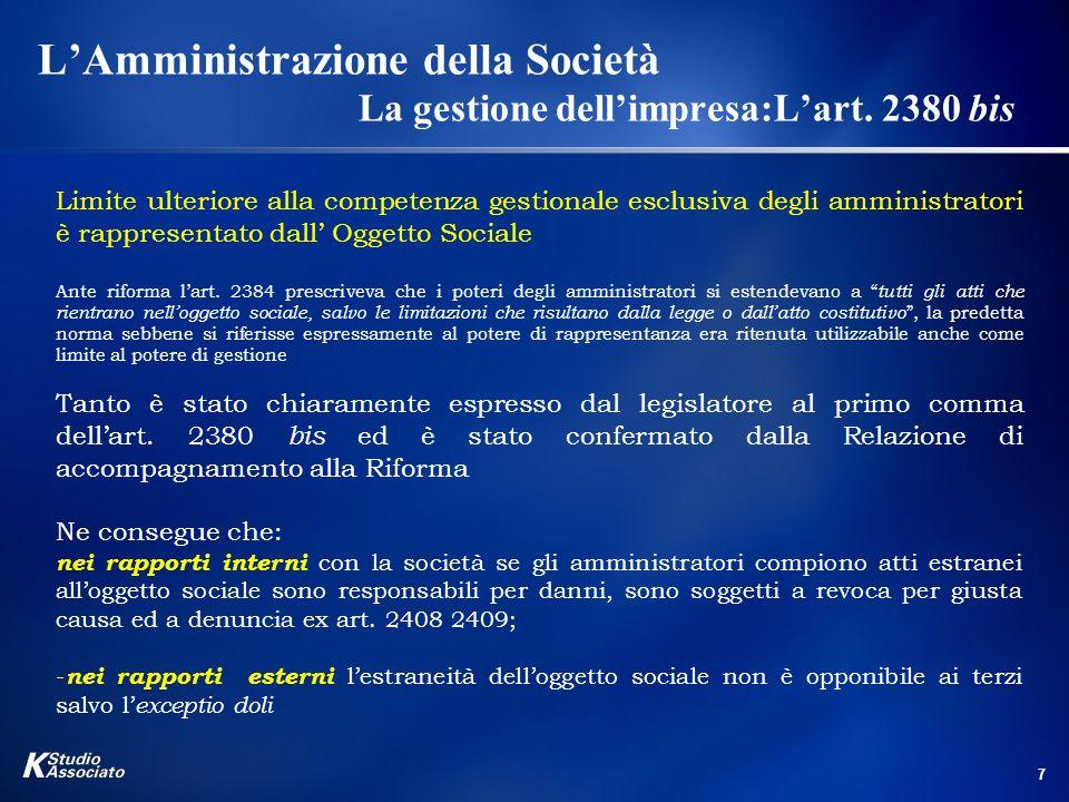 L'Amministrazione della Società. La gestione dell'impresa:L'art