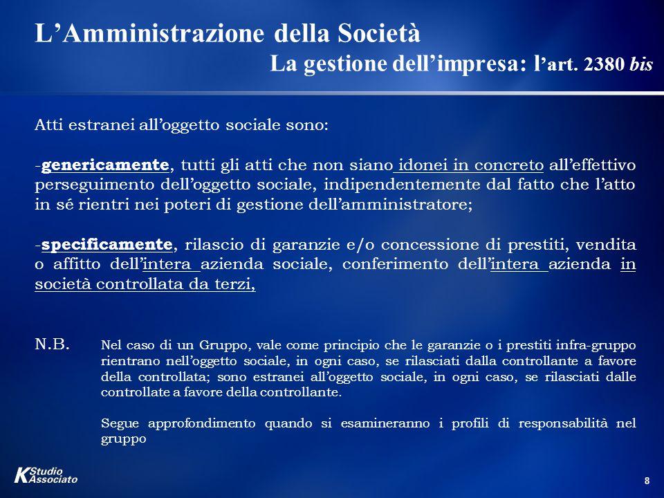 L'Amministrazione della Società. La gestione dell'impresa: l'art