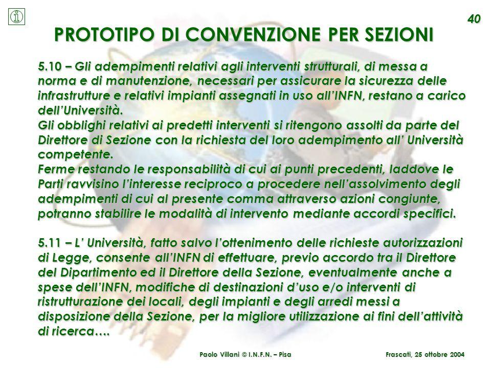 PROTOTIPO DI CONVENZIONE PER SEZIONI Paolo Villani © I.N.F.N. – Pisa