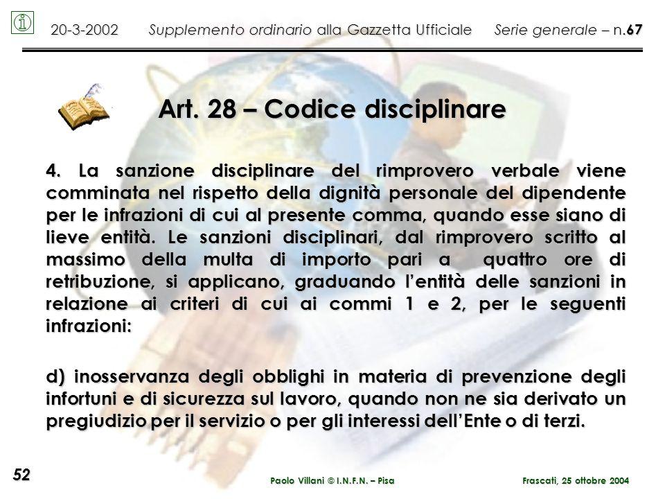 Art. 28 – Codice disciplinare Paolo Villani © I.N.F.N. – Pisa