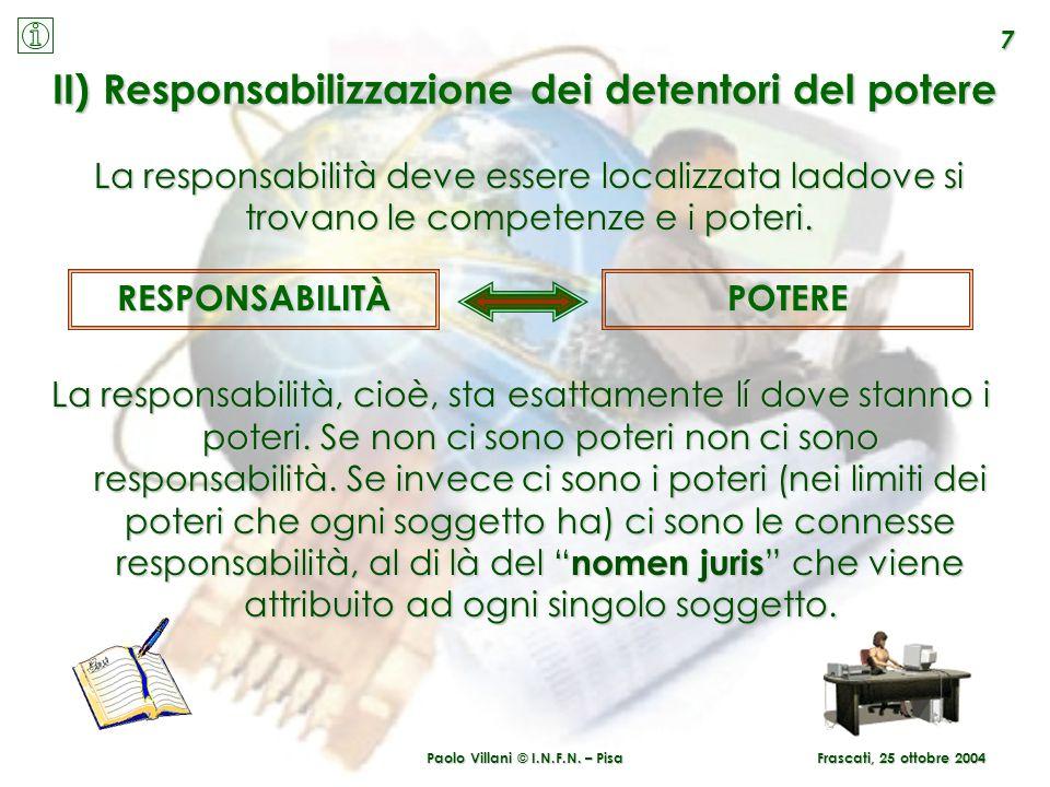 II) Responsabilizzazione dei detentori del potere