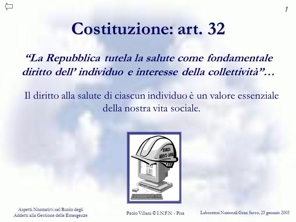 1 Costituzione: art. 32. La Repubblica tutela la salute come fondamentale diritto dell' individuo e interesse della collettività …