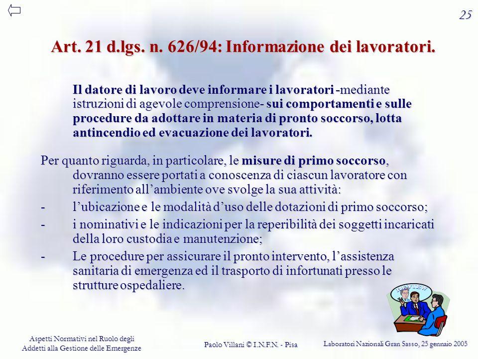 Art. 21 d.lgs. n. 626/94: Informazione dei lavoratori.