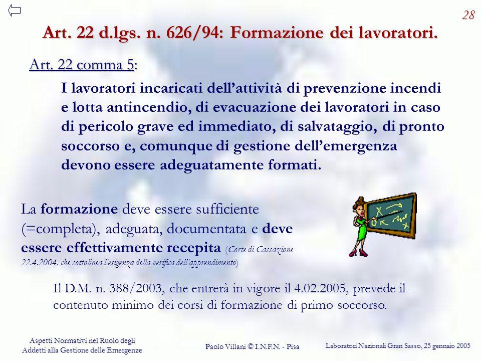Art. 22 d.lgs. n. 626/94: Formazione dei lavoratori.