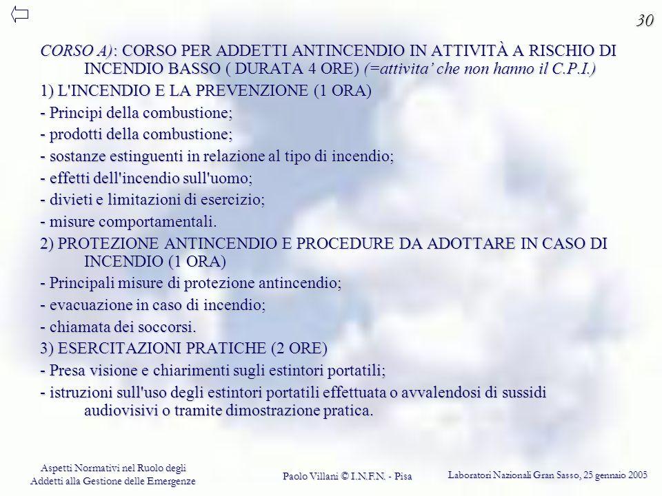 30 CORSO A): CORSO PER ADDETTI ANTINCENDIO IN ATTIVITÀ A RISCHIO DI INCENDIO BASSO ( DURATA 4 ORE) (=attivita' che non hanno il C.P.I.)