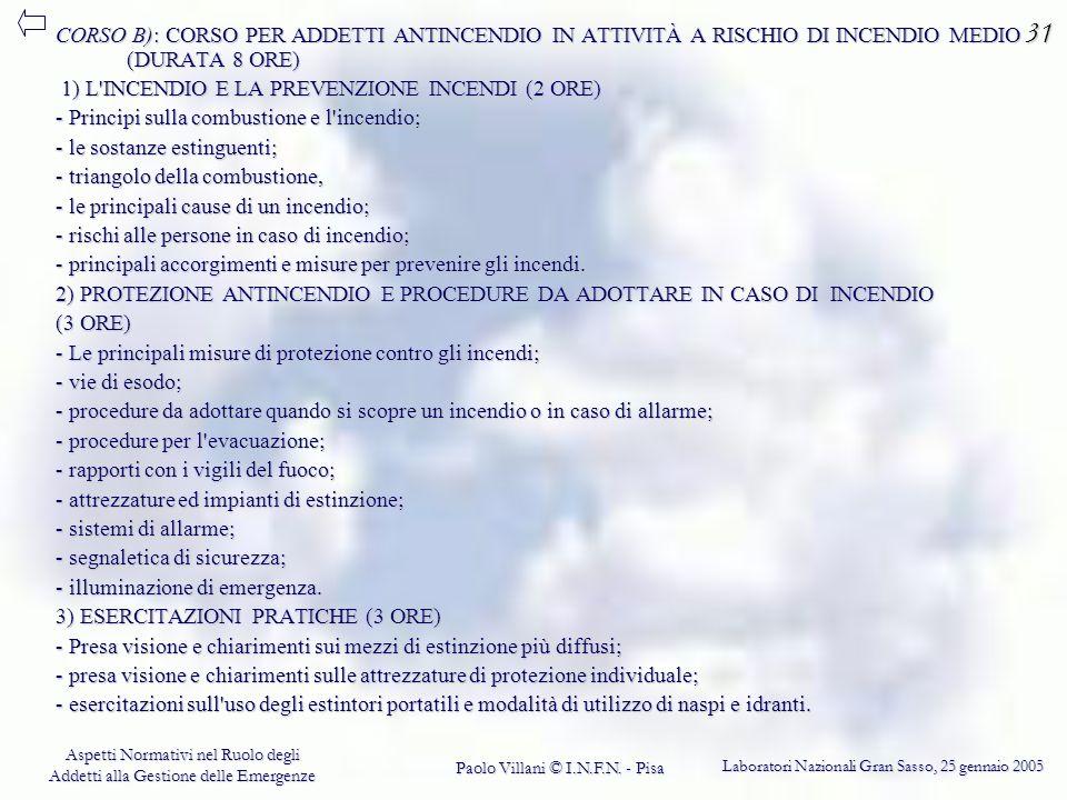 31 CORSO B): CORSO PER ADDETTI ANTINCENDIO IN ATTIVITÀ A RISCHIO DI INCENDIO MEDIO (DURATA 8 ORE) 1) L INCENDIO E LA PREVENZIONE INCENDI (2 ORE)