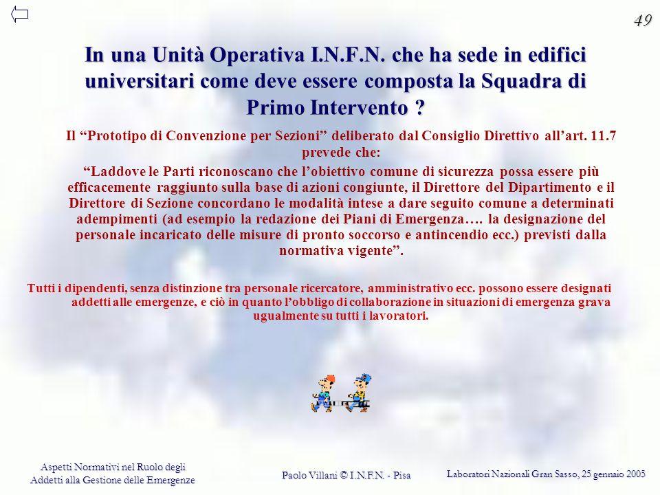 49 In una Unità Operativa I.N.F.N. che ha sede in edifici universitari come deve essere composta la Squadra di Primo Intervento